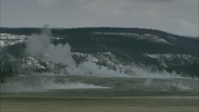 steam rises from the ground in yellowstone national park. - yellowstone national park stock videos & royalty-free footage