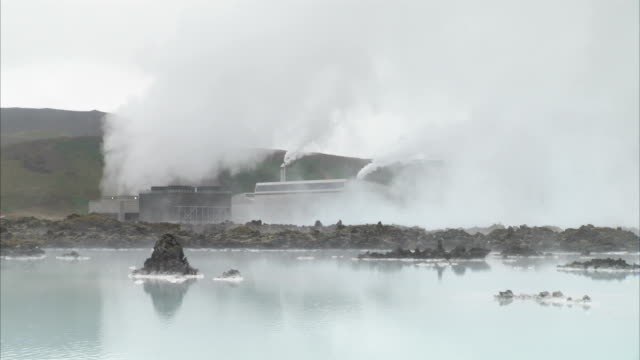 Steam rises from the Svartsengi Power Station near the Blue Lagoon in Reykjavik, Iceland. Available in HD