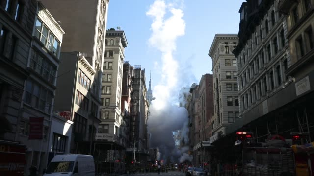 Steam rises near the site of a steam pipe explosion on Fifth Avenue near the Flatiron District July 19 2018 in New York City No injuries were reported