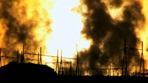 ws steam rising from power palnt station at sunrise / arizona,united states - fumes stock videos & royalty-free footage