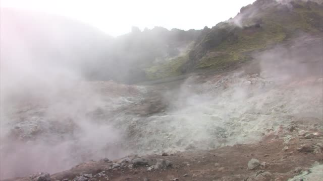 Steam rising from the ground from geothermal vents.