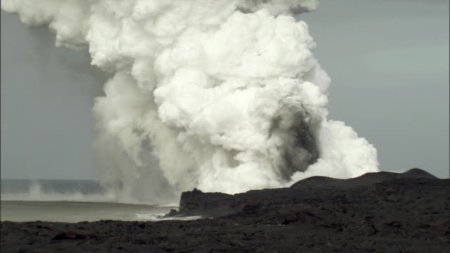 ws steam rising from volcanic vent near sea / hilo, hawaii, usa - hilo stock videos & royalty-free footage