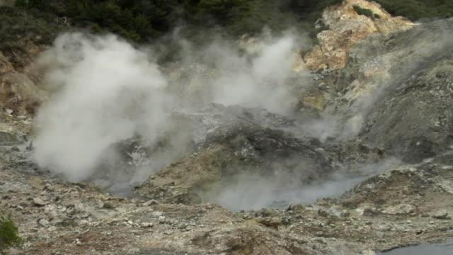 cu steam rising from volcano / saint lucia - kelly mason videos stock-videos und b-roll-filmmaterial