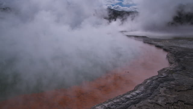 vidéos et rushes de ms steam rising off thermal area in rotorua , new zealand - piscine thermale