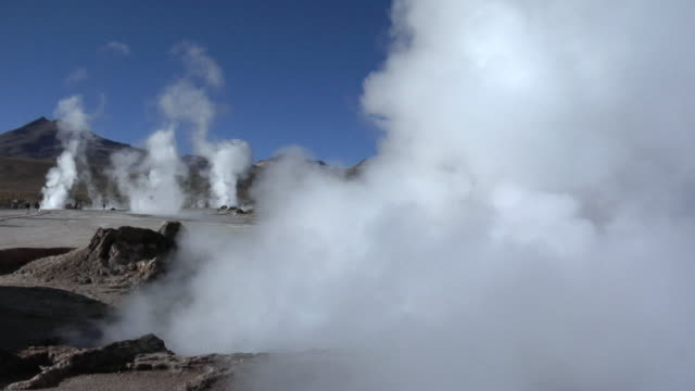 MS Steam rising over El Tatio geyser field, San Pedro de Atacama, El Loa, Chile