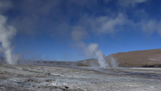 ws pan steam rising over el tatio geyser field, san pedro de atacama, el loa, chile - san pedro de atacama stock videos & royalty-free footage