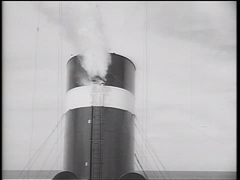 B/W 1934 steam shooting out of pipe vent / cruise ship