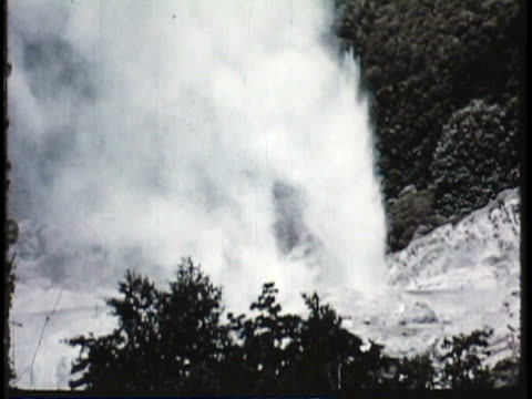1955 MS Steam shooting up from geyser / New Zealand / AUDIO
