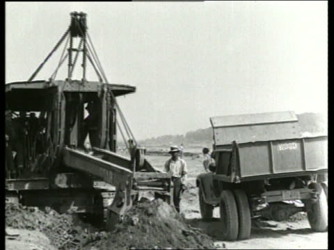 b/w steam shovel pouring dirt into dump truck / sound - vehicle scoop stock videos and b-roll footage