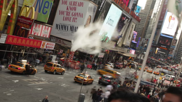 Steam, Taxi and New York Times Square Time Lapse