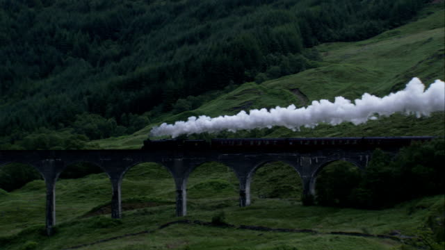 A steam train chugs across the Glenfinnan Viaduct in Argyll, Scotland. Available in HD.