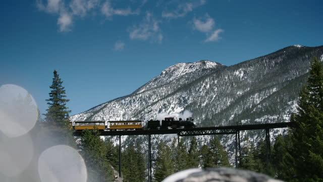 steam train chugs through rockies, usa - colorado stock videos & royalty-free footage