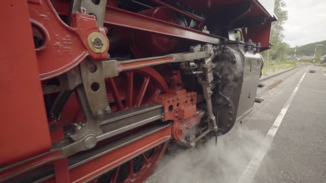 steam train details of wheels starting to move - locomotive stock videos & royalty-free footage