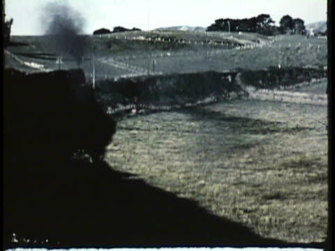 1955 montage ha ws ms steam train in rural setting / new zealand / audio - desaturated stock videos & royalty-free footage