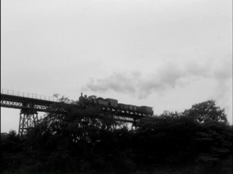 ms pan steam train moving on bridge / hayling island; halesowen, southwell, hampshire, dudley, nottinghamshire, england - railway bridge stock videos & royalty-free footage