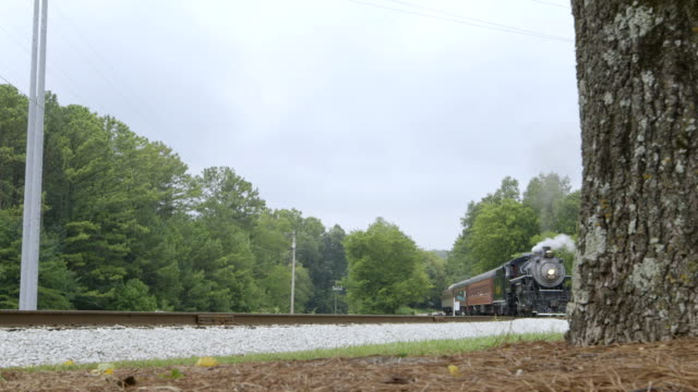 ws steam train moving on railway track / chattanooga, tennessee, united states - chattanooga stock videos and b-roll footage