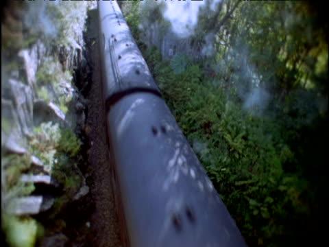 Steam train passes beneath camera Scottish Highlands