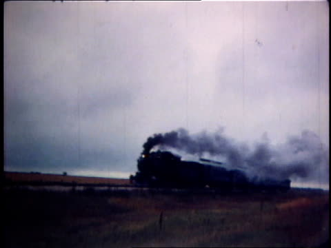 1978 montage steam train passing through open area / united states - 1978 stock videos & royalty-free footage