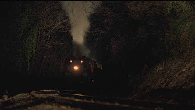 vídeos y material grabado en eventos de stock de cu, steam train riding through forest at night, tennessee, usa - locomotora