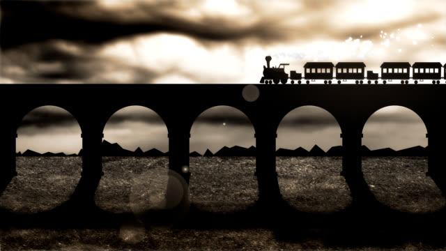 steam train runs on a railway bridge in stormy day