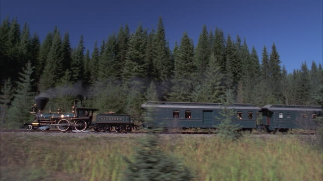 vidéos et rushes de ms, ts, reenactment steam train traveling through wooded area, horseback rider chasing and jumping onto last car of train - historical reenactment