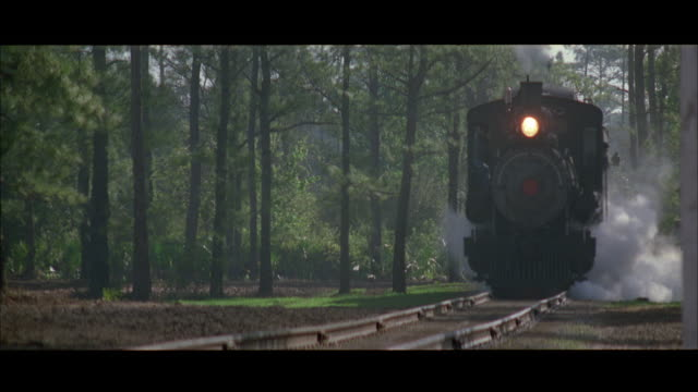 cu tu steam train traveling to and by camera, rural area - 1997 stock-videos und b-roll-filmmaterial