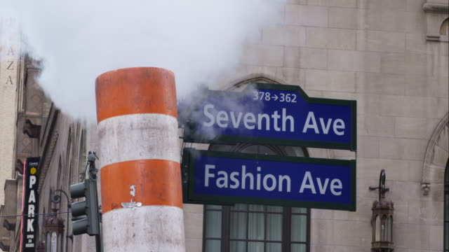Steam Vent Obscuring Seventh Avenue Street Sign in Manhattan