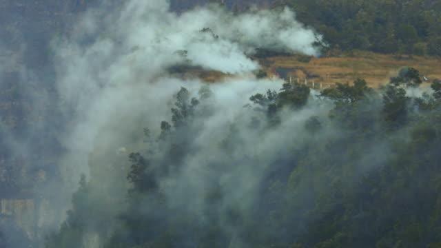 vídeos y material grabado en eventos de stock de steam vents spill into kilauea caldera at dawn - caldera cráter