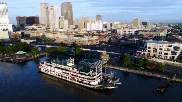 steamboat moored in french quarter - river mississippi stock videos & royalty-free footage