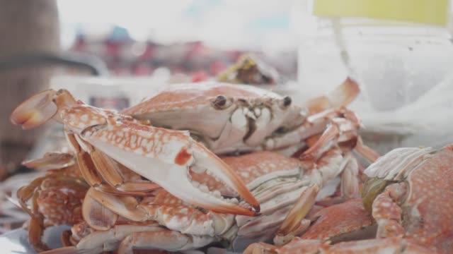 vidéos et rushes de crabes cuits à la vapeur street food à bangsean beach, thaïlande. - crabe