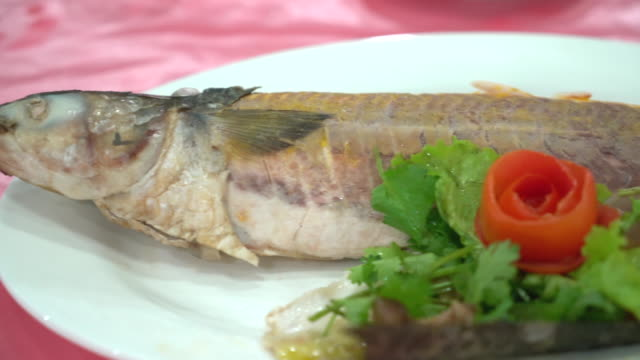 steamed fish in pickled plum sauce - whole stock videos and b-roll footage