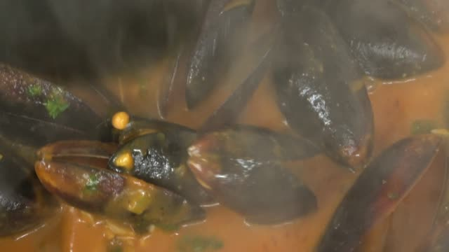 steamed pei mussels in a tomato and garlic broth film montage. - scampi seafood stock videos and b-roll footage