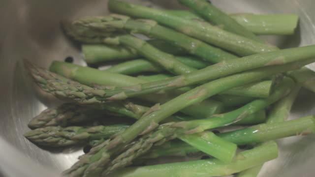 Steaming Asparagus in Pan