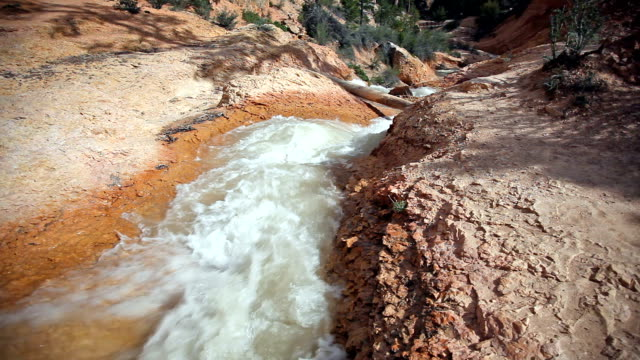 steaming creek in red earth at Bryce canyon
