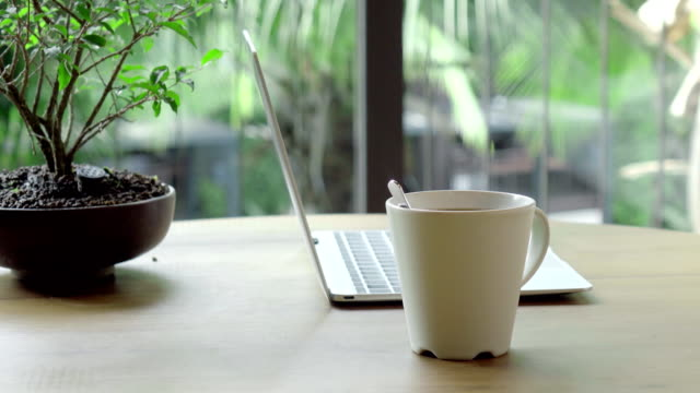 steaming cup of coffee and laptop on a wooden table near bonsai tree - caffeine stock videos & royalty-free footage