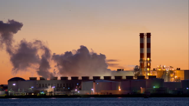steaming factory in newark bay - fabrik stock-videos und b-roll-filmmaterial