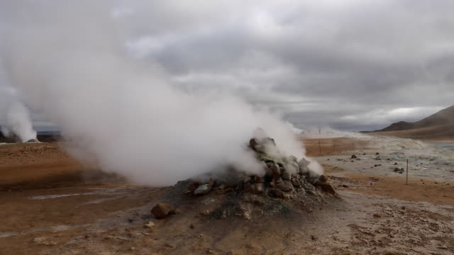 steaming fumarole at hverir, iceland - 噴気孔点の映像素材/bロール