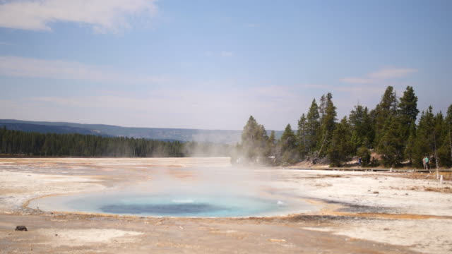 Steaming Geyser Hot Spring Pool in Yellowstone National Park