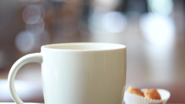 steaming hot coffee drink in coffee shop, cafe - mug stock videos & royalty-free footage