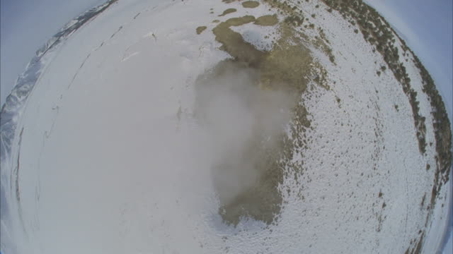 ws pov steaming hot spring in snowy flats / mammoth lakes, california, usa - mammoth lakes video stock e b–roll