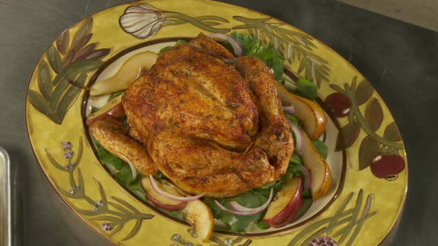 ha, cu, steaming roasted chicken on plate - roast chicken stock videos & royalty-free footage
