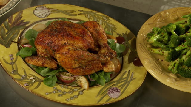 cu, steaming roasted chicken on plate - roast chicken stock videos & royalty-free footage
