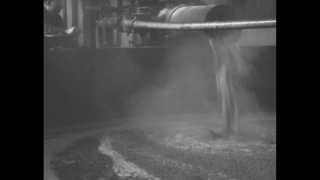 steaming scotch 'slurry' is poured into a steaming tank with the mash tun and its tines stirring the hot liquid with foam floating atop the surface... - 大樽点の映像素材/bロール