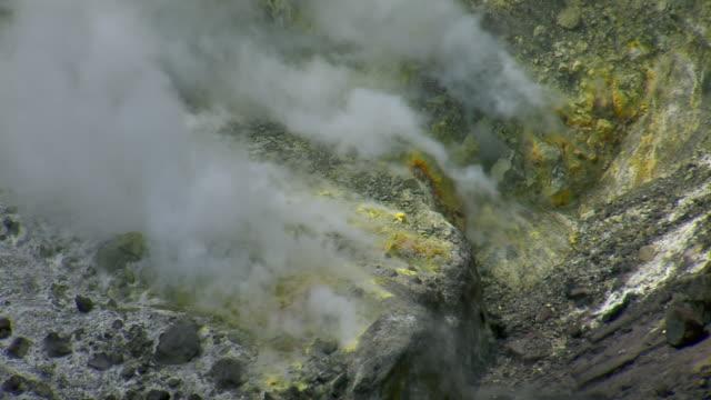 Steaming sulfuric vent in SoufriËre Hills Volcano on Montserrat.