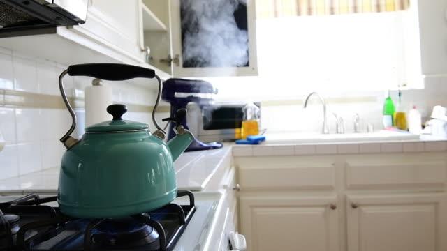 本物のキッチンでの蒸し湯ポット - ティーポット点の映像素材/bロール