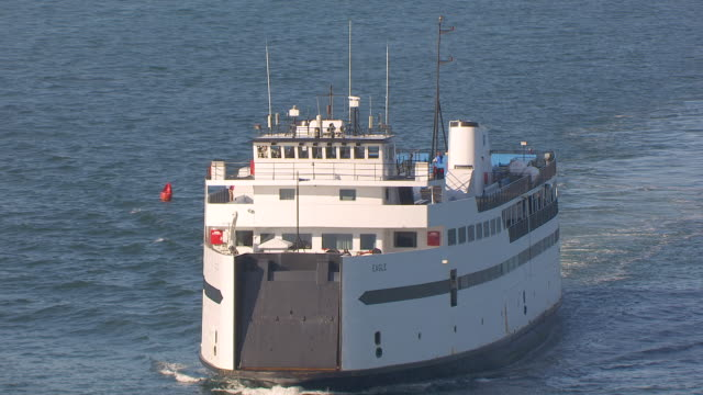 WS ZO AERIAL POV Steamship Authority moving on sea / Hyannis, Massachusetts, United States