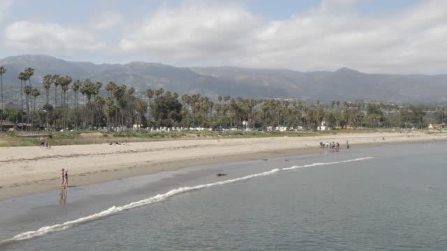 stearns wharf pier and beach, santa barbara, california, united states of america, north america - santa barbara stock-videos und b-roll-filmmaterial