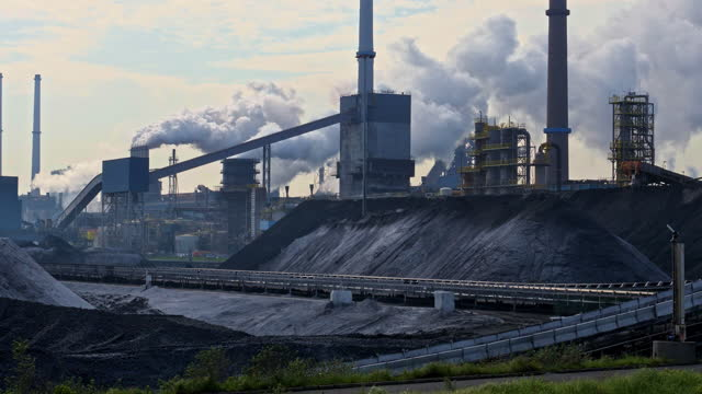 steel and coal. industrial area in the early morning - coal stock videos & royalty-free footage