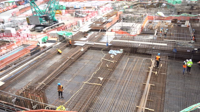 steel bar reinforcement at construction site basement - star ferry stock videos & royalty-free footage
