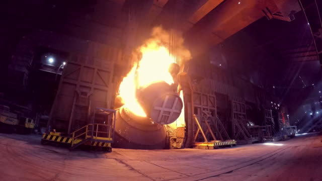 steel being produced in a large 'cauldron' - mineral stock videos & royalty-free footage